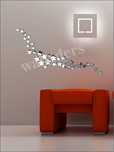 Wall1ders - Star Silver (Pack of 24) 3D Mirror 3D Acrylic Wall sticker,