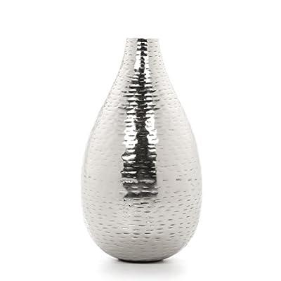"""Hosley 8.75"""" High Silver Color Hammered Metal Vase"""