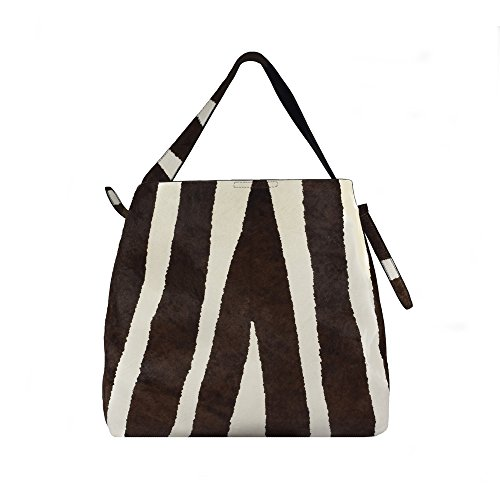 'chevron' Zebra Haircalf Hobo Handbag By Inzi In-4526
