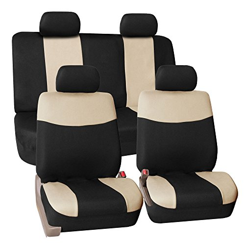FH GROUP FH-FB056114 Modern Flat Cloth Car Seat Covers, Beige / Black Color (Dodge Charger 2006 Seat compare prices)