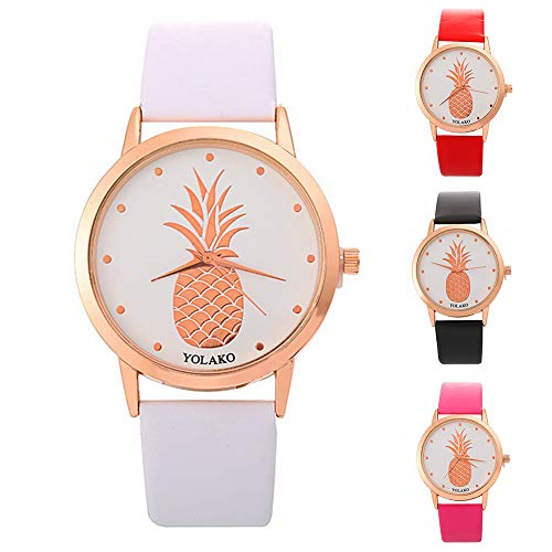 Ladies Watch, Women Pineapple No Number Round Dial Faux Leather Band Analog Quartz Wrist Watch by Gaweb (Image #1)