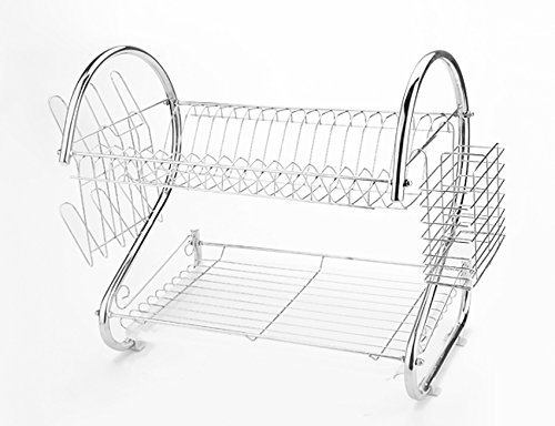 Homdox 2 Tier Dish Rack, Premium Stainless Steel Dish Drainer Drying Rack Holder with Draining Tray - 16 Inch, Chrome Finished - Silver (Tier Dish Rack)