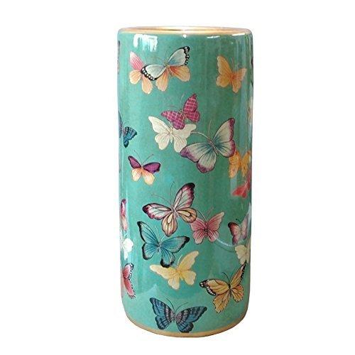 Superbe Porcelaine Oriental Turquoise Papillon Parapluie Pot Chinoises MA
