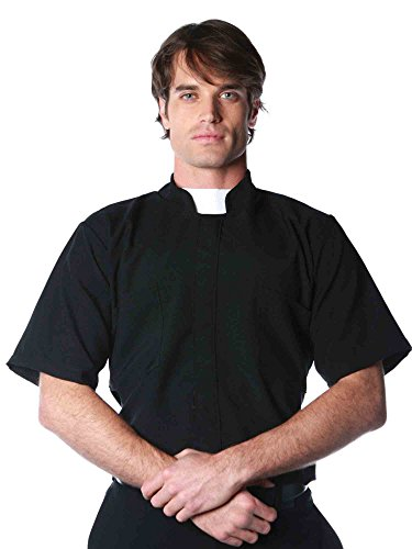 [Underwraps Costumes Men's Priest Costume - Short Sleeve Shirt, Black/White, XX-Large] (Priest Halloween Costume Deluxe)