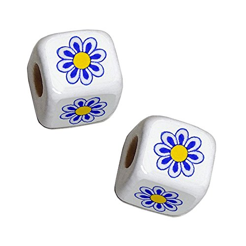 Ceramic Cube Beads Daisy Flower Pattern CHOOSE YOUR FAVORITE (Blue Daisy w/Lacey Petal & Yellow Center 9mm 25pcs)