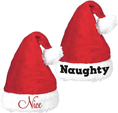 Amscan Naughty & Nice Santa Hat Set | Christmas Accessory for $<!--$7.99-->