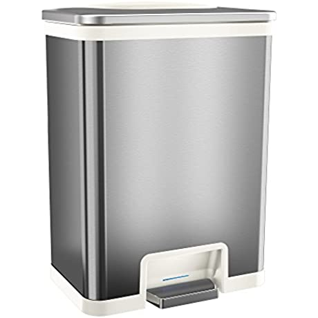 TapCan Effortless 13 Gallon Step Sensor Trash Can Automatic Stainless Steel Kitchen Trash Can With Unique Pedal Sensor And Deodorizer 3 Color Options White