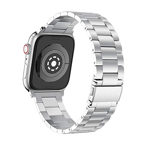 (GELISHI Compatible with Apple Watch Band 38mm 40mm, Solid Stainless Steel Replacement Wristbands Compatible for Apple Watch Series 4/3/2/1 - Silver)