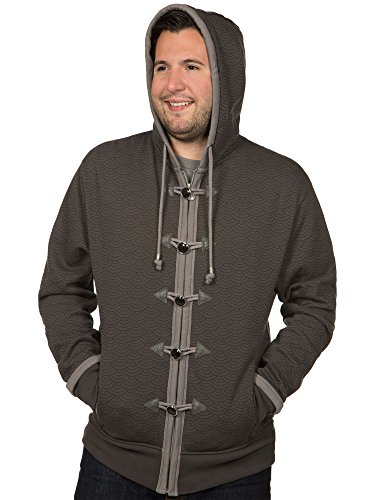 JINX World of Warcraft: Mists Pandaria Men's Monk Zip-Up Hoodie (Charcoal, Small)