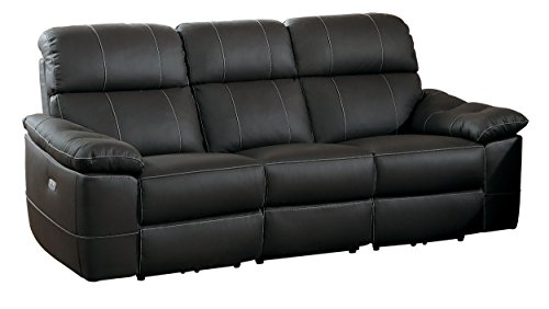 Homelegance Nicasio Contemporary All Genuine Leather Power Reclining Sofa, - Contemporary Sofa Reclining