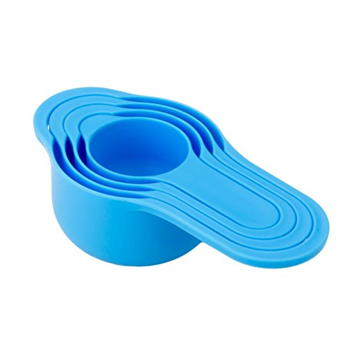 Set of 8 Compact Nesting Mixing Bowl Set Measuring Tools Sieve Colander Food Prep Plastic Dishwasher Safe Non-Slip, 8-Piece, By Intriom (Blue) by Intriom (Image #4)