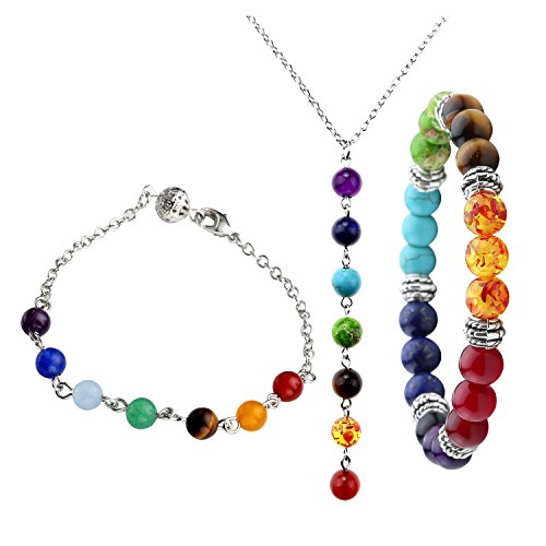 Top Plaza 7 Chakra Jewelry Set - Healing Balance Energy 7 Chakra Bracelets + Necklace (Healing Energy Jewelry compare prices)