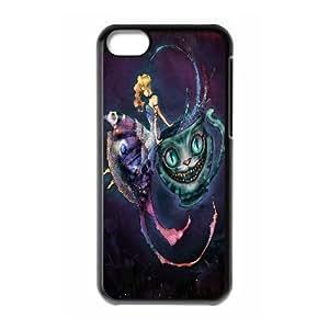 Cheshire Cat Alice in Wonderland IPhone 5C Cases for Teen Girls, Apple Iphone 5c Case Luxury [Black]