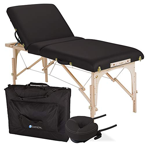 EARTHLITE Portable Massage Table Package AVALON TILT – Reiki Endplate, Premium Flex-Rest Face Cradle & Strata Cushion, Carry Case (30″x73″)