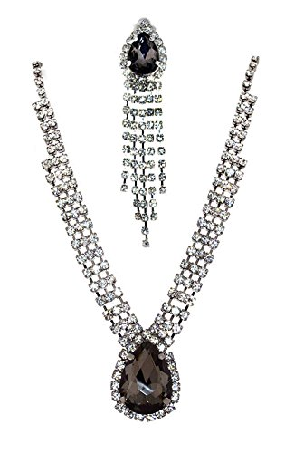 Mevoi Glamour Tear-drop and Round Simulated Rhinestone Necklace,clip-on Earrings Set (Charcoal Grey) ()
