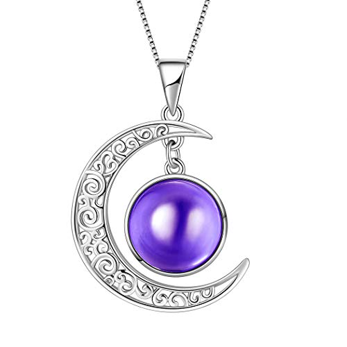 (Aurora Tears February Birthstones Necklaces Women 925 Sterling Silver Crescent Moon Pendants Girls Birthday Jewelry Crystal Birth Stone Gifts DP0091F)