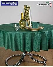 Esse Home - tafelkleed - tafelkleed - rond, voor 8 personen - Jacquard van puur katoen - gemaakt in Italië - Iris 598 (0/170, donkergroen)