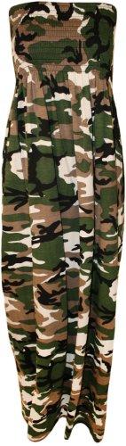 Mode 4 Moins nouvelles femmes Imprimé bretelles embardée Bandeau Robe Pour Ladies.UK 36-42 (SM-EU(36-38), Camouflage)