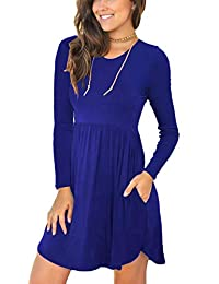 Women's Long Sleeve Loose Plain Dresses Casual Short...