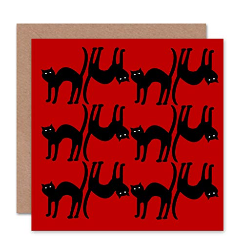 Wee Blue Coo NEW RED CATS ANIMAL BLACK HALLOWEEN SCARED GREETINGS BIRTHDAY CARD ART CS103 -