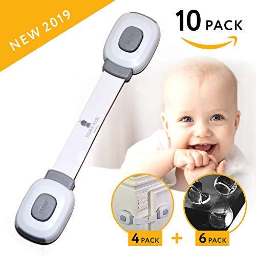 Baby Safety Cabinet Locks | Baby Proofing | Easy To Install | Cabinet Locks | Refrigerator Lock | Edge Protectors | Drawer Locks Child Safety | Door Locks for Kids | Door Latch (4 Locks + 6 Corners)