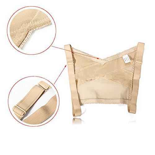 Zinnor Adjustable Shoulder Back Posture Corrector Chest Brace Wireless Support Belt Push Up Bra Vest(Nude) (Large)