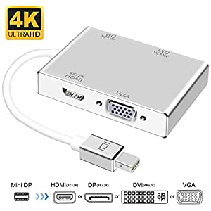 Amazon Com Mini Displayport To Hdmi Dvi Dp 4k Vga Adapter