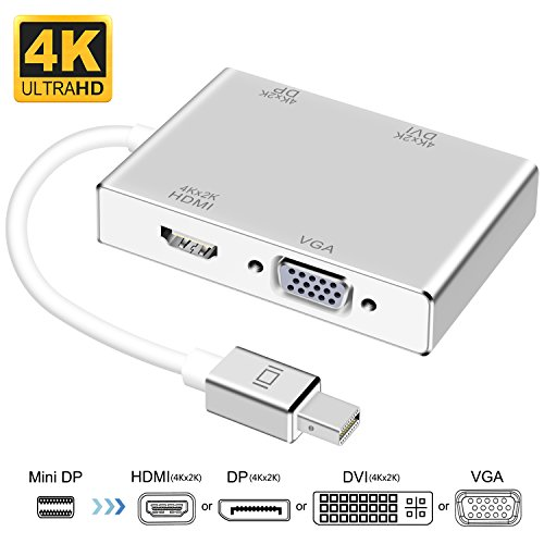3d Stereoscopic Video - Mini DisplayPort to HDMI DVI DP 4K VGA Adapter, Topoint Thunderbolt to HDMI DP DVI VGA Adaptor Converter Compatible MacBook Air,Old MacBook/MacBook Pro,Surface Book Surface Pro 3/4 ThinkPad X1