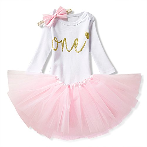 NNJXD Girl Newborn Long Sleeve Tutu Birthday 3 Pcs Outfits Romper+Dress+Headband Size (1) 0-12 Months Pink -