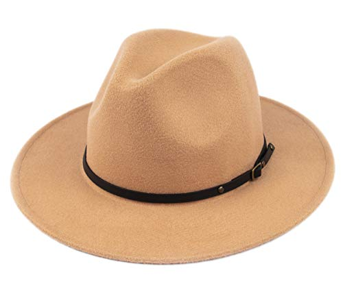 Lanzom Womens Classic Wide Brim Floppy Panama Hat Belt Buckle Wool Fedora Hat (One Size, Camel)]()