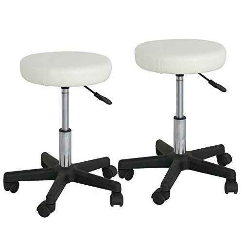 F2C Leather Adjustable Bar Stools Swivel Chairs Facial Massage Spa Salon Stool with Wheels White/Black (2PCS White) by F2C