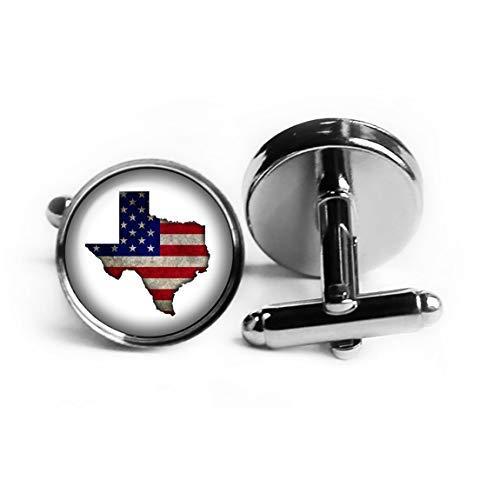 United States USA Flag Silhouette Texas TX Rhodium Plated Silver Cufflinks