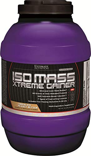 Ultimate Nutrition ISO Mass Xtreme Weight Gainer Protein Isolate Powder with Creatine - Gain Serious Lean Muscle Mass Fast with 60 Grams of Protein, Chocolate Peanut Butter, 30 Servings
