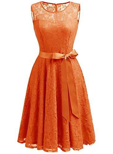 Dressystar Vestido Fiesta Corto Encaje Estampado Flor Elegante Mujer Sin Manga Vestido para Madrina Naranja