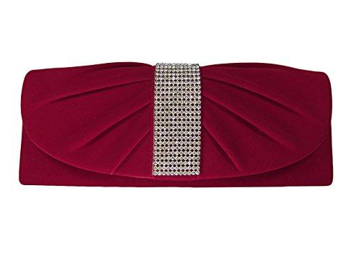 Red Velvet Rhinestone (Red Velvet with Rhinestones Evening Bag, Clutch, Shoulder bag, Handbag)