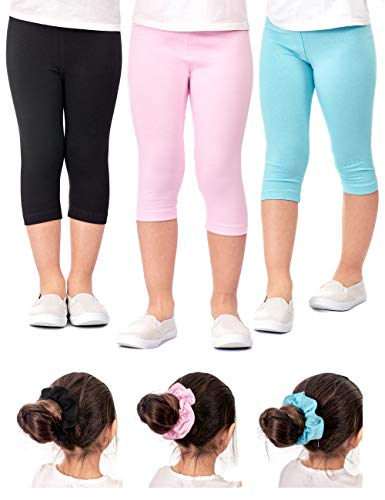 DEAR SPARKLE Girls Capris 3 Pack Cotton Solid Colors + Matching Hair Ties | Sizes 3-10 (4-5, Black/Pink/SkyBlue) ()