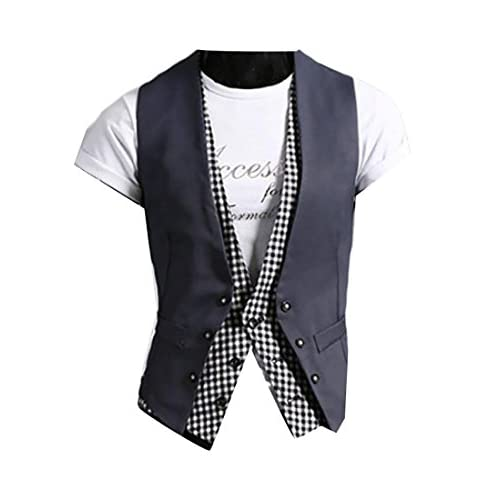 ce8f2ce5541 on sale ZSN Mens Casual V-neck Double Layered Slim Fit Vest Waistcoat