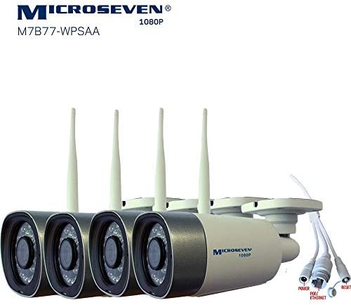 4x Microseven 2019 HD 1080P 30fps WiFi PoE Two-Way Audio,Built-in Amplified Mic Speaker, Alexa,Outdoor IP Camera,128GB Slot,Day Night IR lights On Off ,Web GUI Apps,VMS,Free 24hr Cloud Storage,Onvif