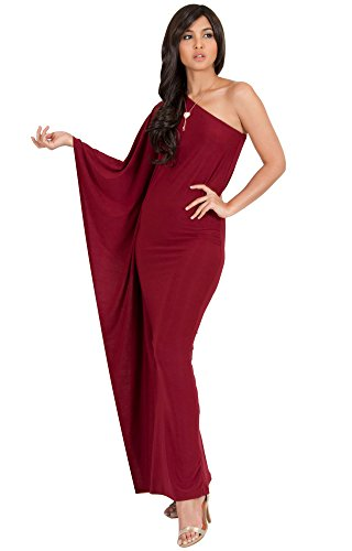 Shoulder Jersey Dress One - KOH KOH Plus Size Womens Long One Off The Shoulder Evening Cocktail Bridesmaid Wedding Party Tube Guest Summer Formal Flowy Elegant Sexy Gown Gowns Maxi Dress Dresses, Crimson Dark Red XL 14-16
