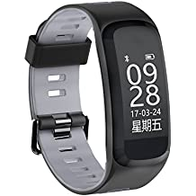 MeiLiio Smart Bracelet Activity Tracker,Heart Rate Blood Pressure Multi Sport Modes Pedometer Bluetooth Wrist Sleep Monitoring,Waterproof Touch Screen Watch for Apple iOS&Android Smart Phones,Gray