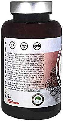 Aloha Medicinals - Pure Red Reishi - Certified Organic Mushrooms – Ganoderma Lucidum – Health Supplement – Supports Cardiovascular, Immune System and Liver Function - 500mg - 90 Vegetarian Capsules