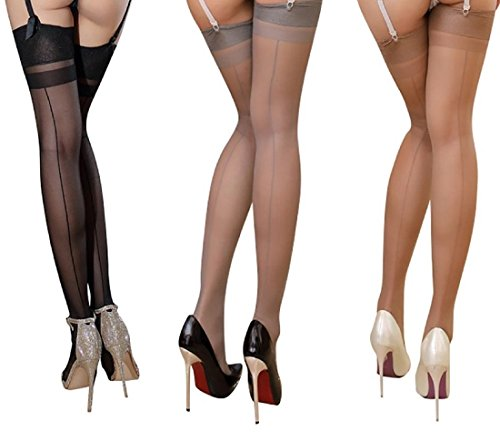 Rose Sakura ultra thin sheer thigh high rib top stockings 3 PAIRS pack by Jetsan (3 pairs black grey nude (Thigh Highs Garter Belts)