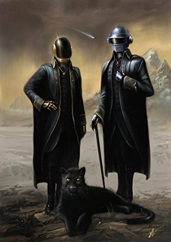 Posters Elite's Daft Punk Guy-Manuel de Homem-Christo Thomas Bangalter Poster Print Rolled Wall Decor