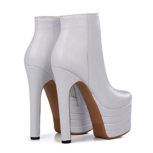 WHITE Femmes Cuir Dames Imperméable Chaussures Tête l'eau Noir NVXIE Blanc Nouvelle élastiques Hiver EUR35UK3 Ronde Véritable Mode Orange Bottes à Automne Courtes Rd55qwO