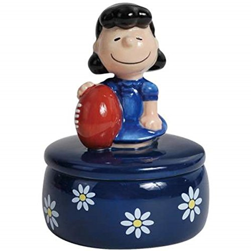 WL SS-WL-20773, Blue Flowers Design Jewelry Trinket Box with Lucy Holding Football ()
