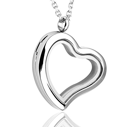 """PiercingJ Round Heart Stainless Steel Locket Floating Charm Pendant Necklace - 21.5"""" Length"""