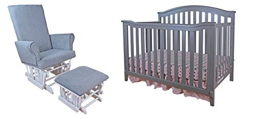 Athena Kali 4-in-1 Crib with Modern Glider Chair and Ottoman, Grey