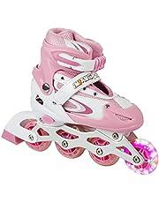 iNFANCiA FELiZ 8901CT Patines en línea recreativos Skates Ajustables al pie Unisex para niños, niñas, jóvenes y Adultos con Casco y protección incluidos
