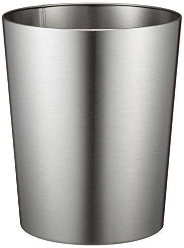 "InterDesign Patton Round Metal Trash Can, Waste Basket Garbage Can for Bathroom, Bedroom, Home Office, Dorm, College, 8"" x 8"" x 9.7"", Brushed Stainless Steel"