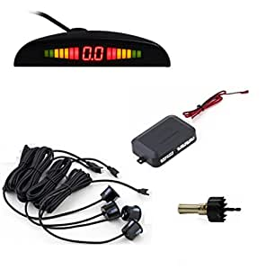 Aparcamiento radar de marcha atr¨¢s del sistema de pantalla digital LED coche con BiBi sonido del recordatorio 4 Sensor Sistema anticongelante y de la prueba de lluvia